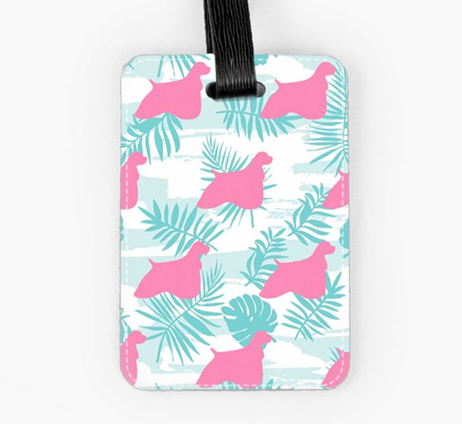Tropical Leaves with American Cocker Spaniel Silhouettes Luggage Tag