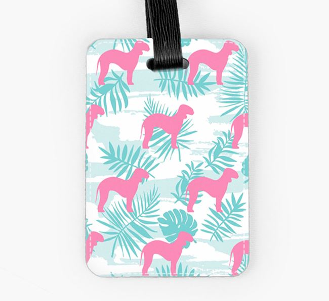 Tropical Leaves with Bedlington Terrier Silhouettes Luggage Tag