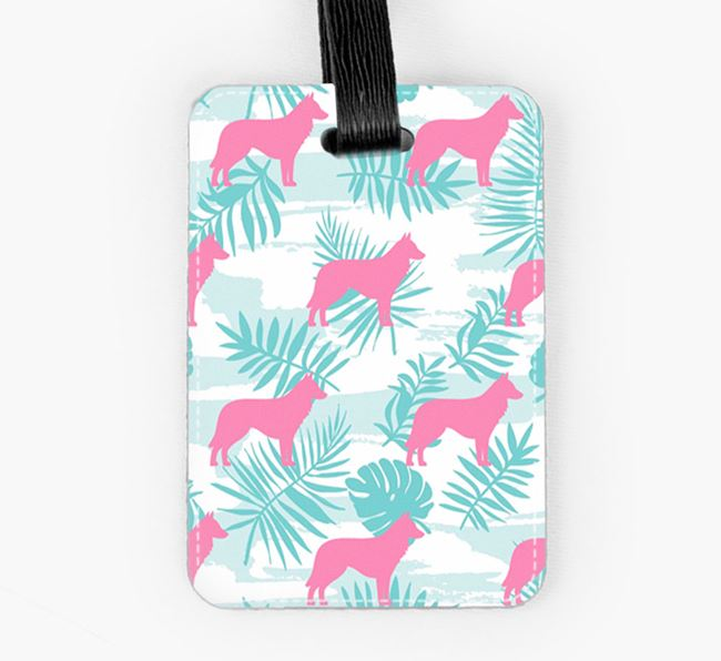 Tropical Leaves with Belgian Groenendael Silhouettes Luggage Tag