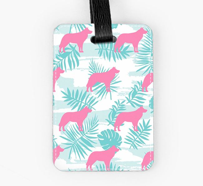 Tropical Leaves with Border Collie Silhouettes Luggage Tag