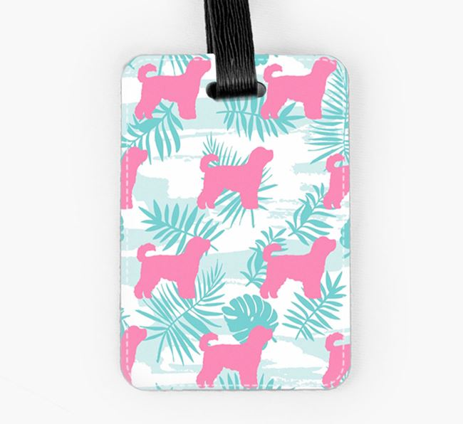 Tropical Leaves with Cavapoochon Silhouettes Luggage Tag