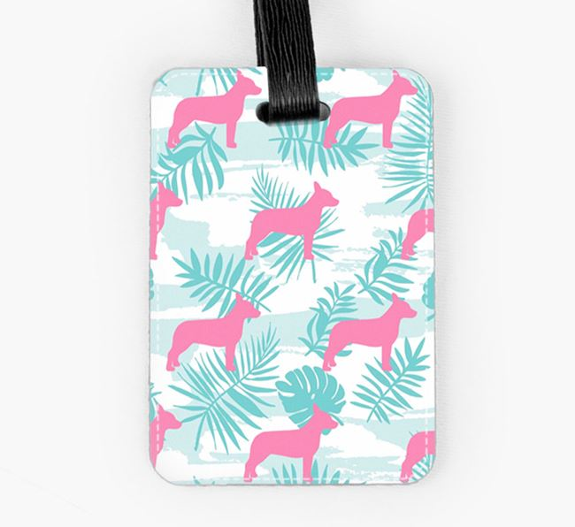 Tropical Leaves with Cojack Silhouettes Luggage Tag