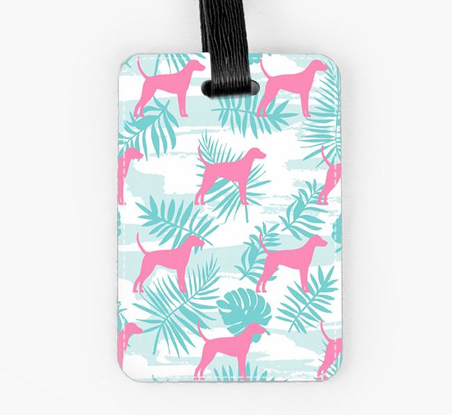 Tropical Leaves with Foxhound Silhouettes Luggage Tag