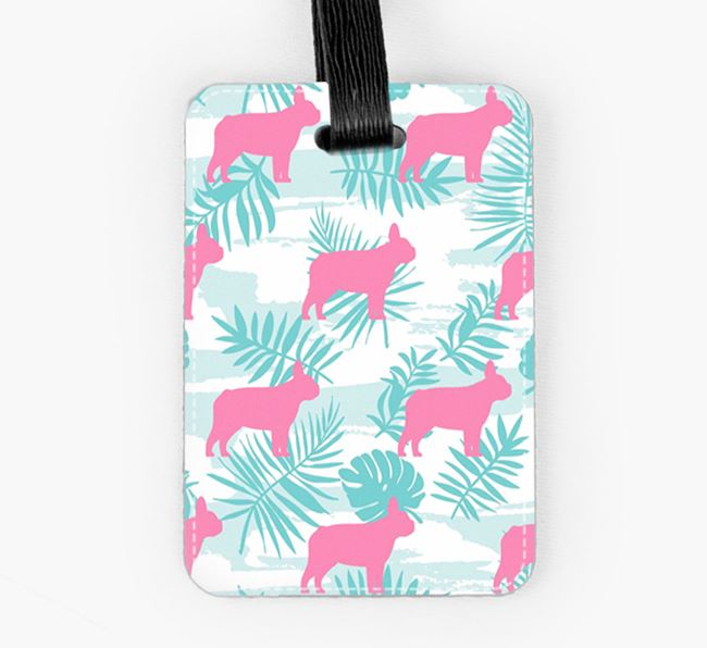 Tropical Leaves with French Bulldog Silhouettes Luggage Tag