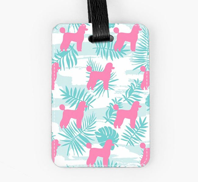Tropical Leaves with Poodle Silhouettes Luggage Tag
