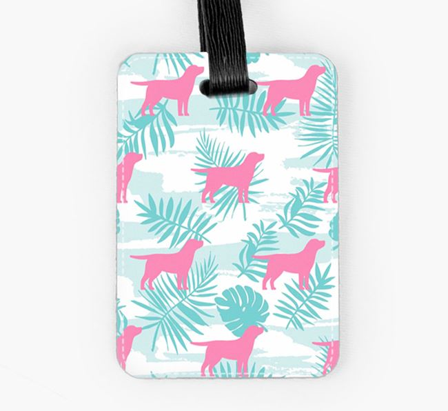Tropical Leaves with Springador Silhouettes Luggage Tag