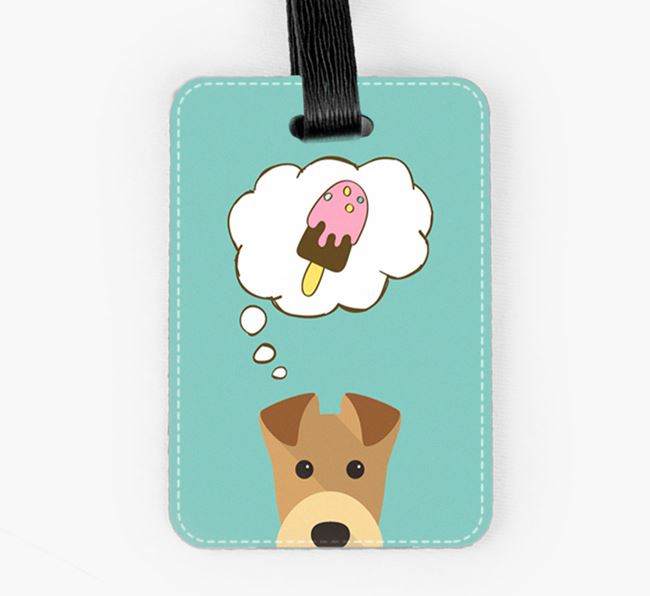 Luggage Tag 'Ice Cream Dream' with Airedale Terrier Icon