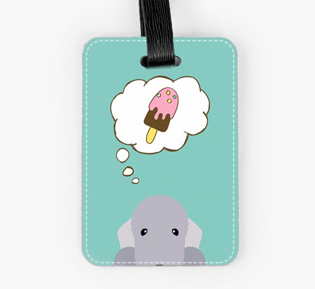 Luggage Tag 'Ice Cream Dream' with Bedlington Terrier Icon