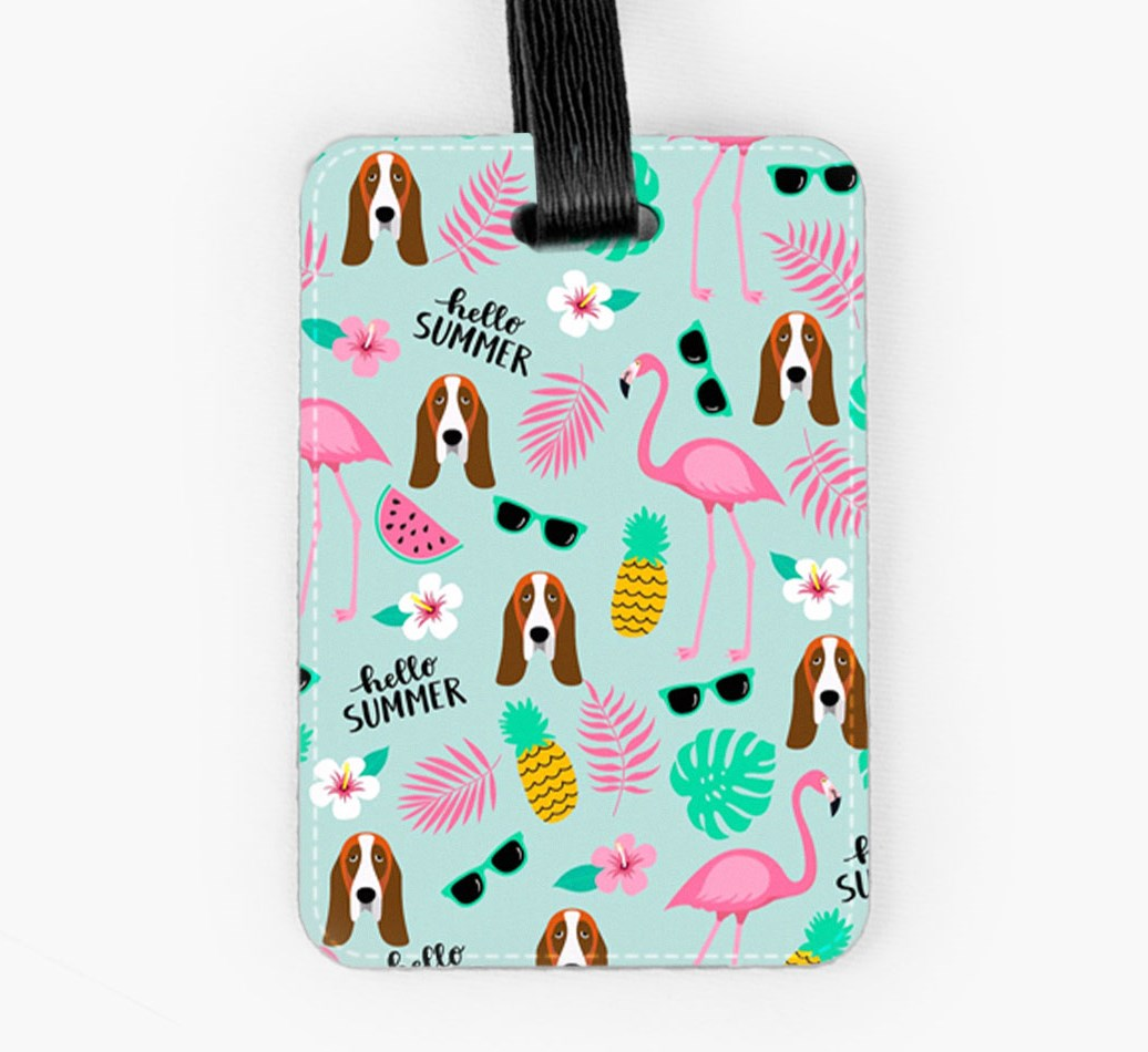Basset Hound Luggage Tag Front