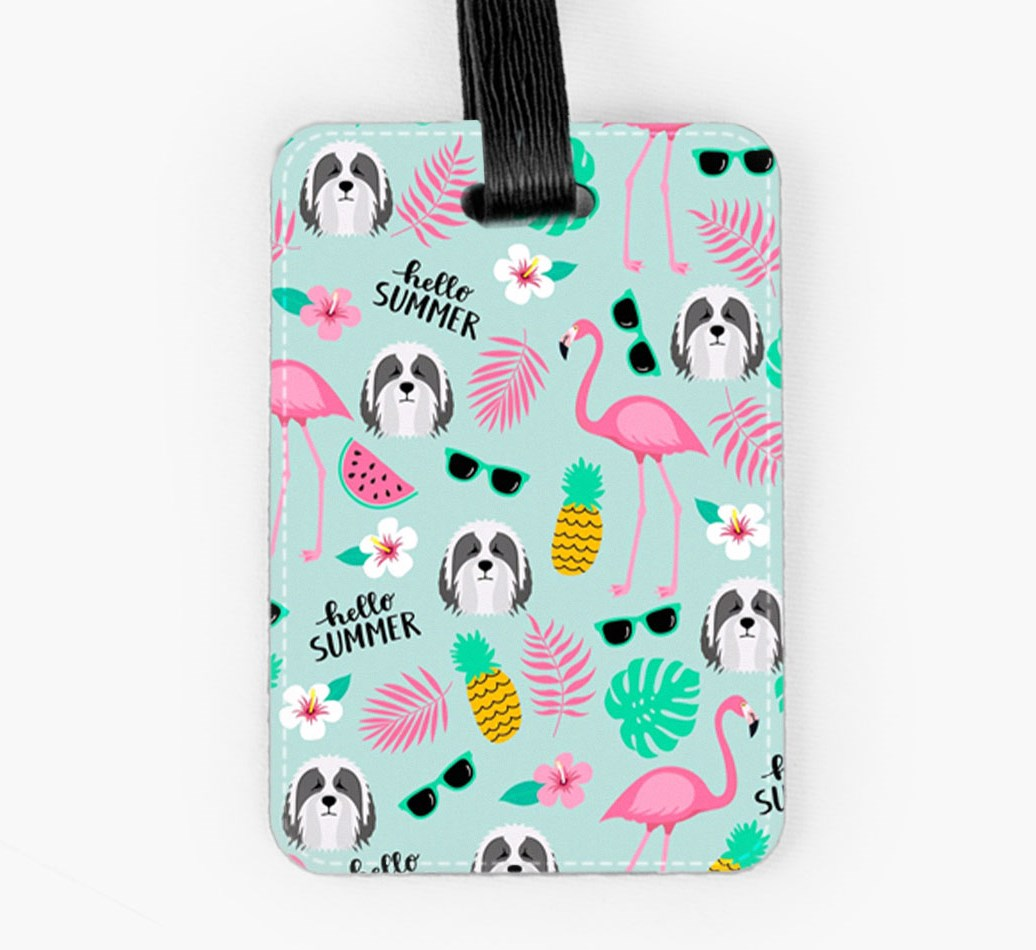 Bearded Collie Luggage Tag Front