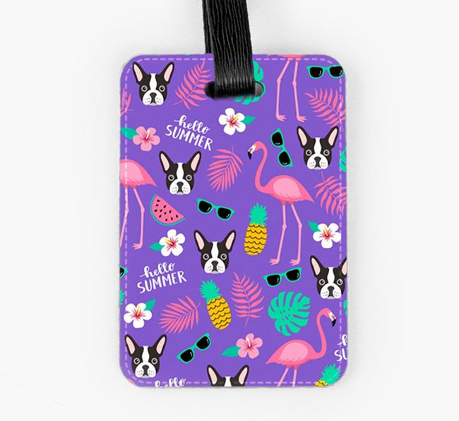 Luggage Tag with French Bulldog Icons and Flamingos