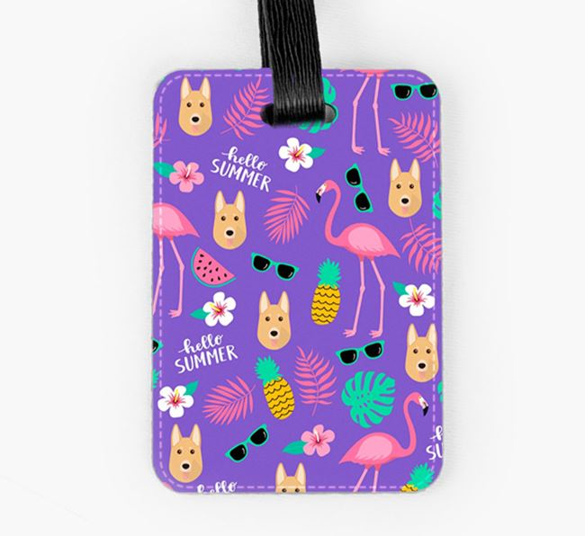 Luggage Tag with German Shepherd Icons and Flamingos