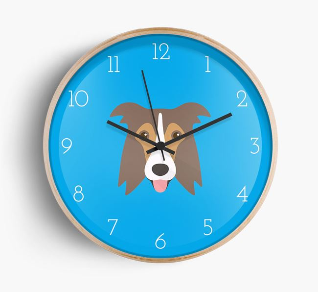 Wall Clock with Border Collie