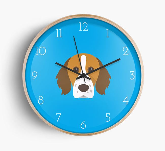 Wall Clock with Brittany Spaniel