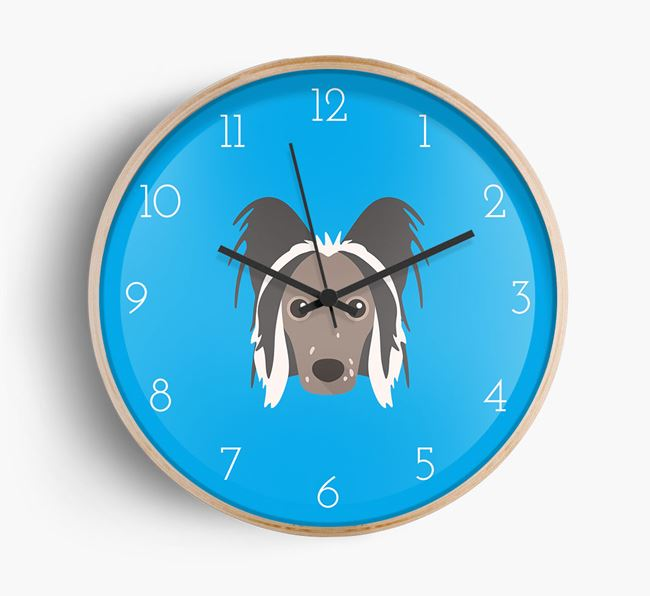 Wall Clock with Chinese Crested