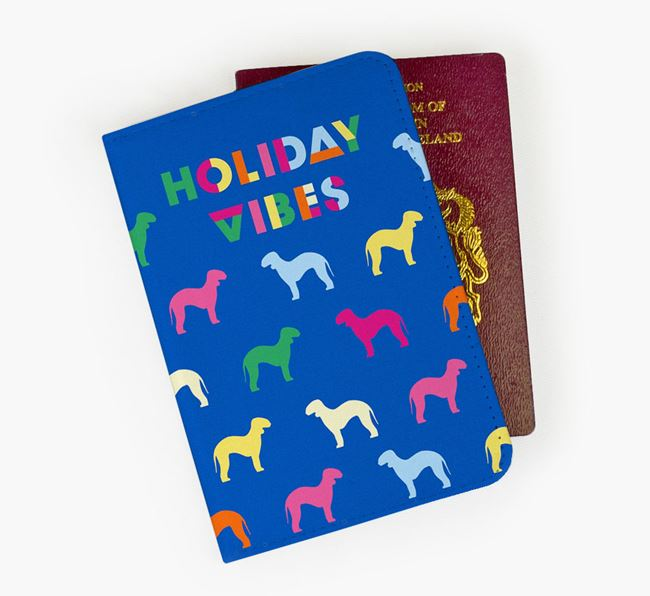 Passport Cover 'Holiday Vibes' with Bedlington Terrier Silhouettes