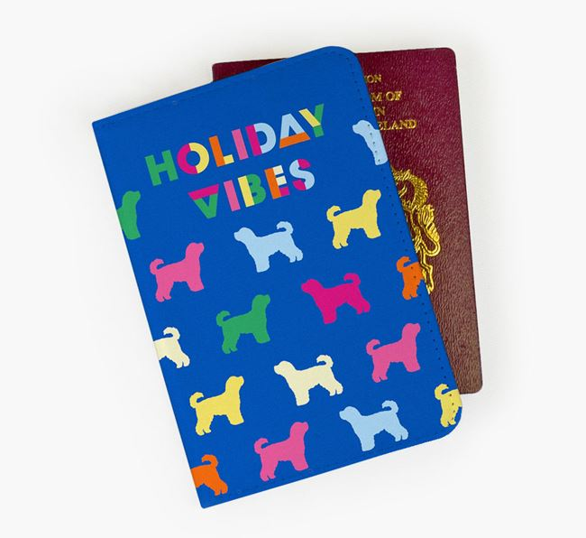 Passport Cover 'Holiday Vibes' with Cavapoochon Silhouettes