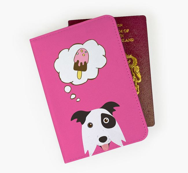 Passport Cover 'Ice Cream Dream' with Border Collie Icon