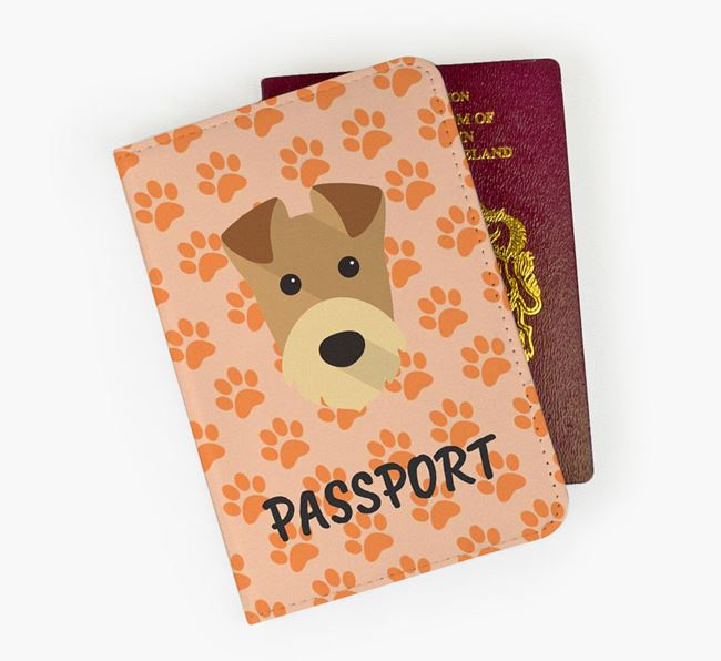 Passport Cover with Airedale Terrier Icon on Paw Prints