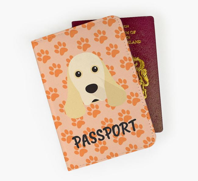 Passport Cover with American Cocker Spaniel Icon on Paw Prints