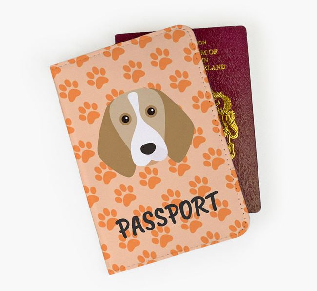 Passport Cover with Beagle Icon on Paw Prints