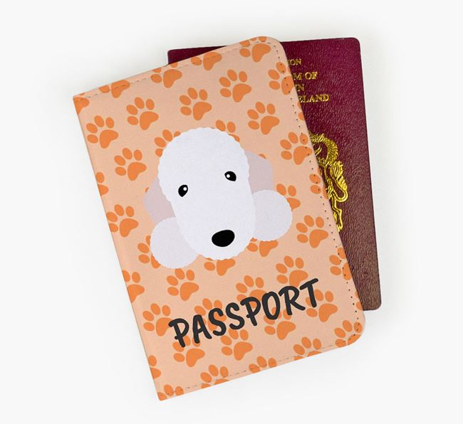 Passport Cover with Bedlington Terrier Icon on Paw Prints
