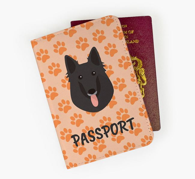 Passport Cover with Belgian Groenendael Icon on Paw Prints