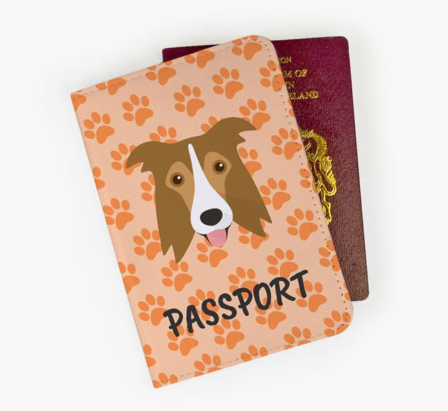 Passport Cover with Border Collie Icon on Paw Prints