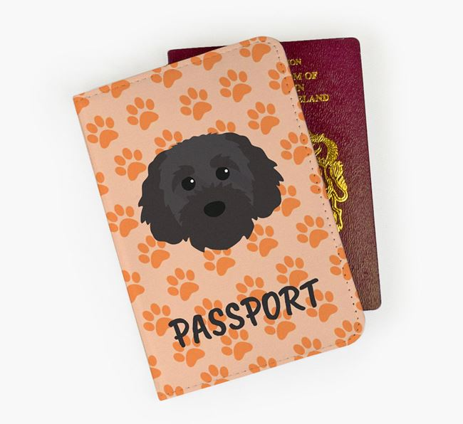 Passport Cover with Cavapoochon Icon on Paw Prints