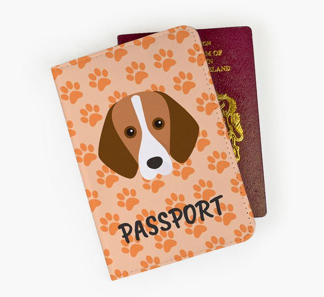 Passport Cover with Foxhound Icon on Paw Prints
