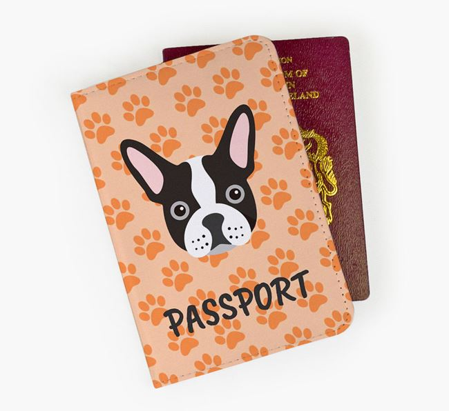 Passport Cover with French Bulldog Icon on Paw Prints