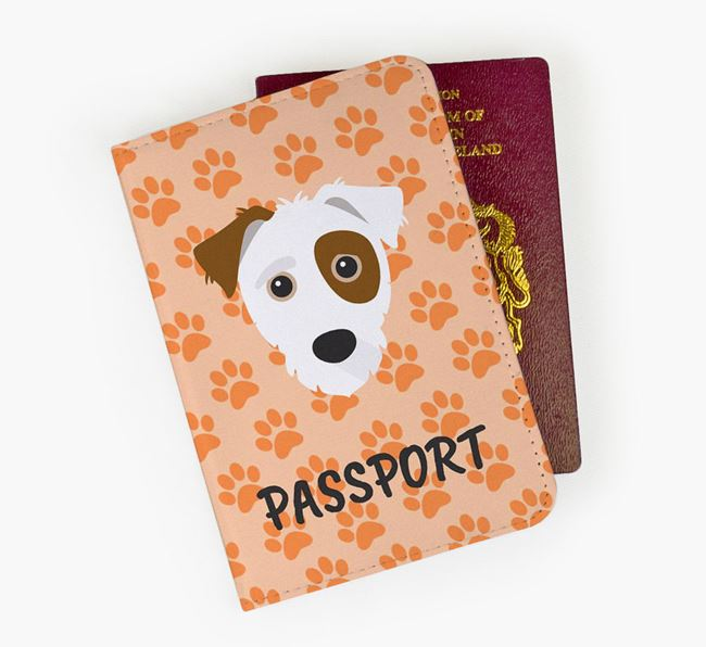 Passport Cover with Jack-A-Poo Icon on Paw Prints