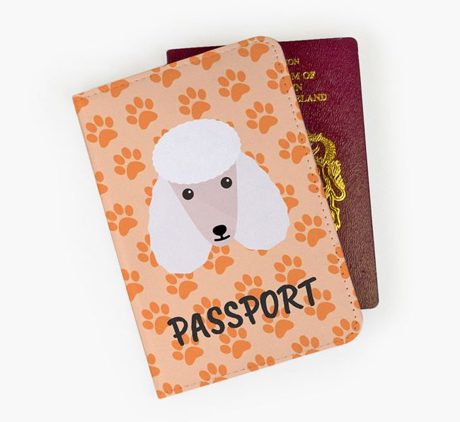Passport Cover with Poodle Icon on Paw Prints