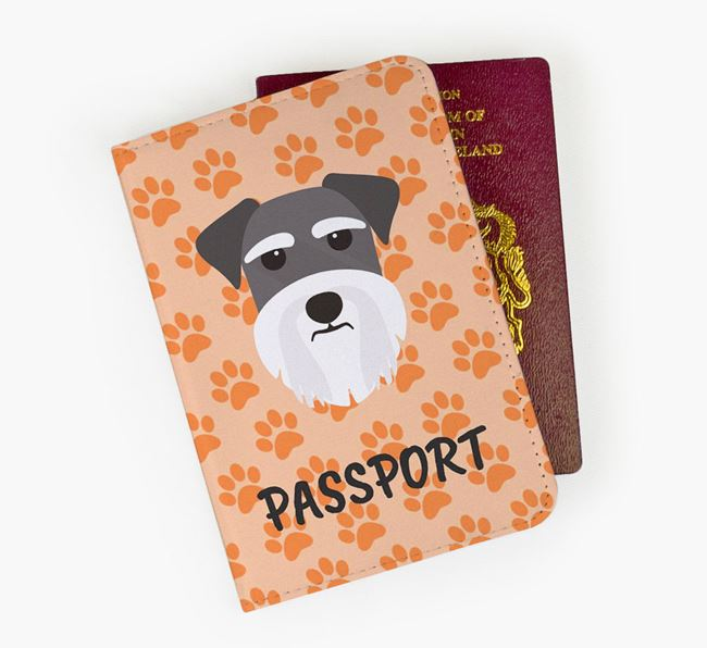 Passport Cover with Dog Icon on Paw Prints