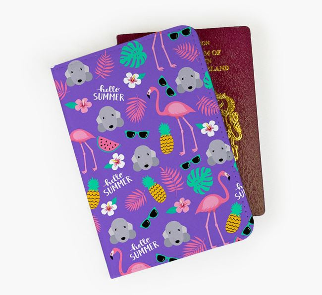 Passport Cover with Bedlington Terrier Icon and Flamingos