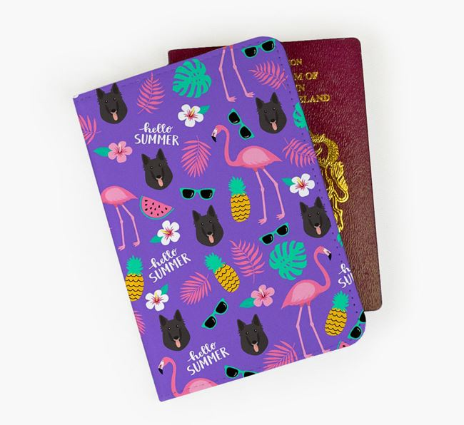 Passport Cover with Belgian Groenendael Icon and Flamingos