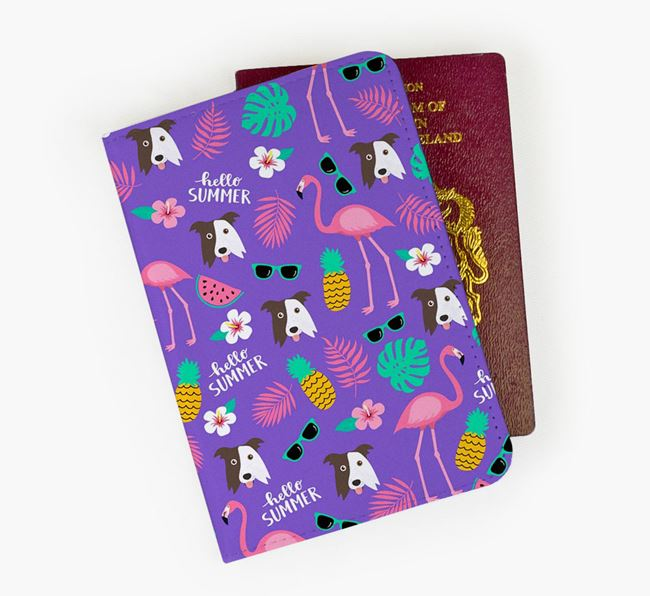 Passport Cover with Border Collie Icon and Flamingos