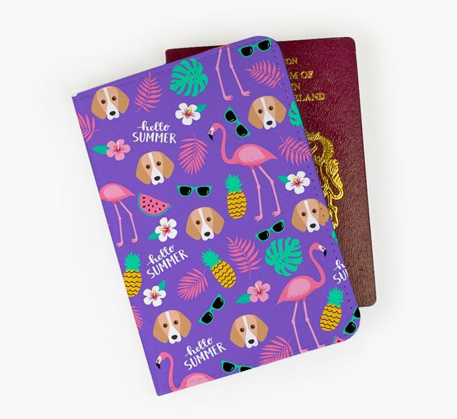 Passport Cover with Foxhound Icon and Flamingos