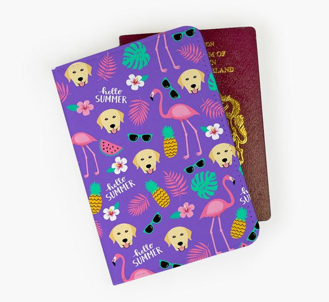 Passport Cover with Dog Icon and Flamingos