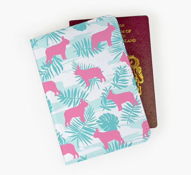 Passport Cover 'Tropical Leaves' with French Bulldog Silhouettes