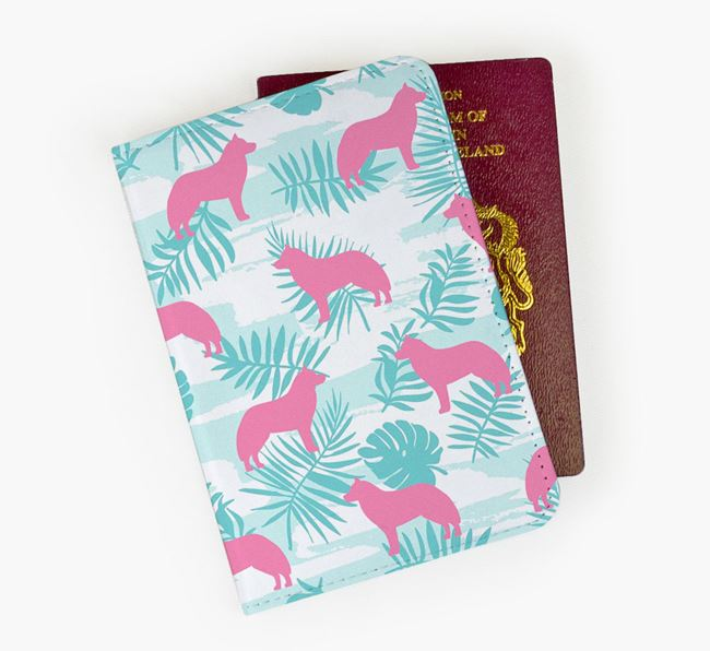 Passport Cover 'Tropical Leaves' with Dog Silhouettes