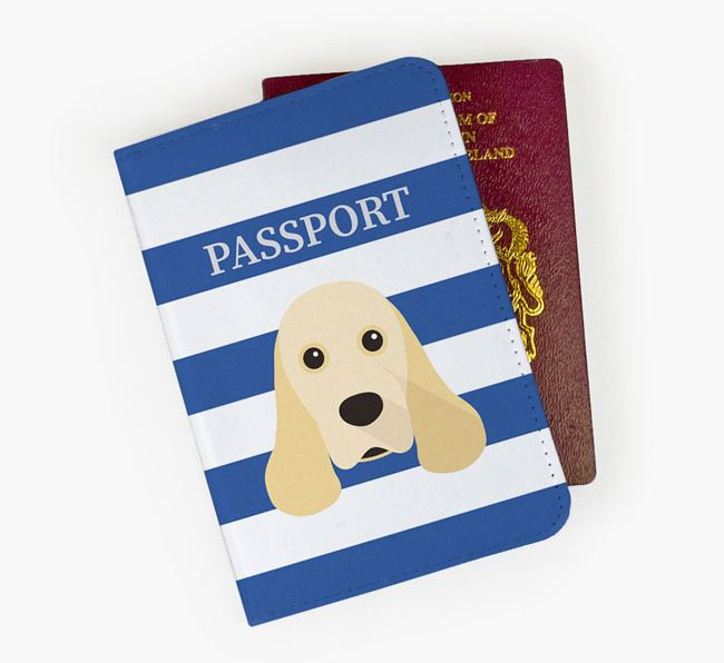 Passport Cover with American Cocker Spaniel Icon on Stripes