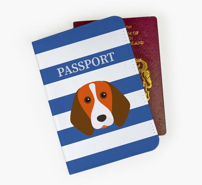 Passport Cover with Beagle Icon on Stripes