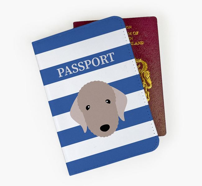 Passport Cover with Bedlington Terrier Icon on Stripes