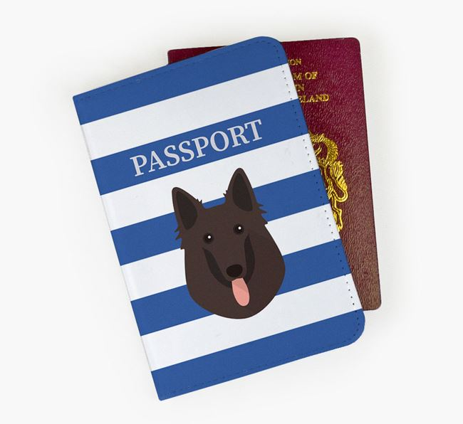 Passport Cover with Belgian Groenendael Icon on Stripes
