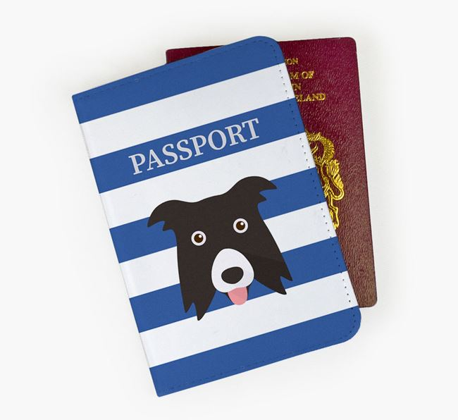 Passport Cover with Border Collie Icon on Stripes