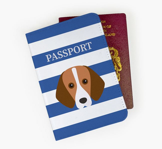Passport Cover with Foxhound Icon on Stripes