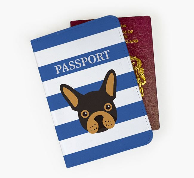 Passport Cover with French Bulldog Icon on Stripes