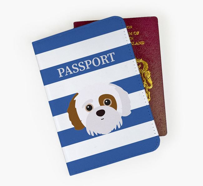 Passport Cover with Jack-A-Poo Icon on Stripes