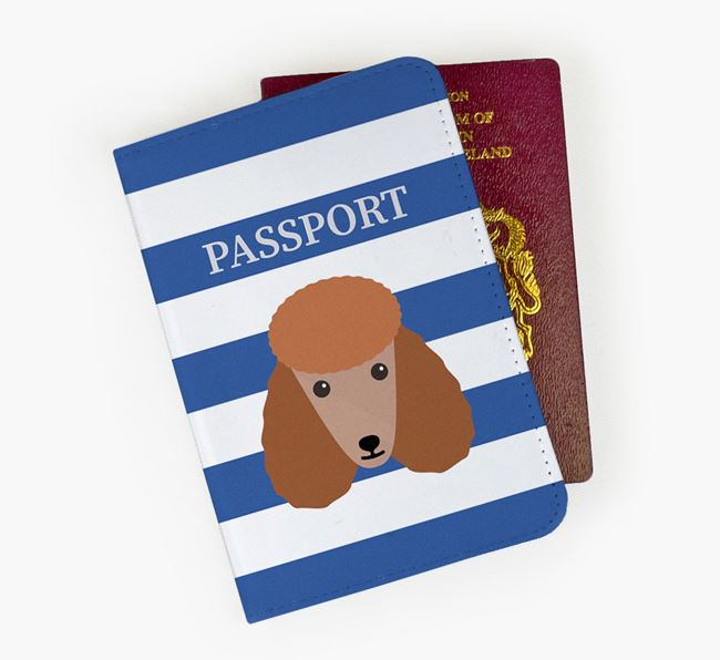 Passport Cover with Poodle Icon on Stripes